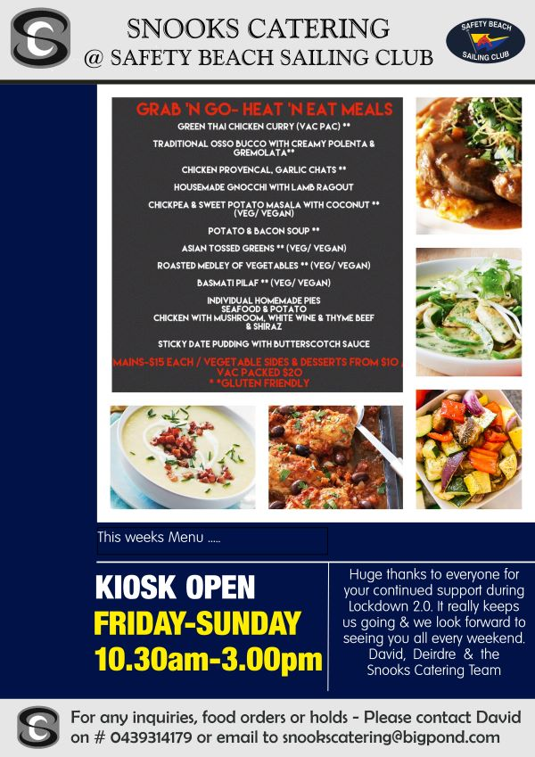 Snooks Catering Flyer 31 July 2020 weekend