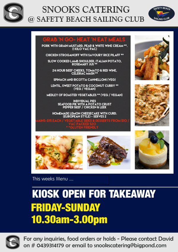 Snooks Catering Flyer 28 August 2020 weekend